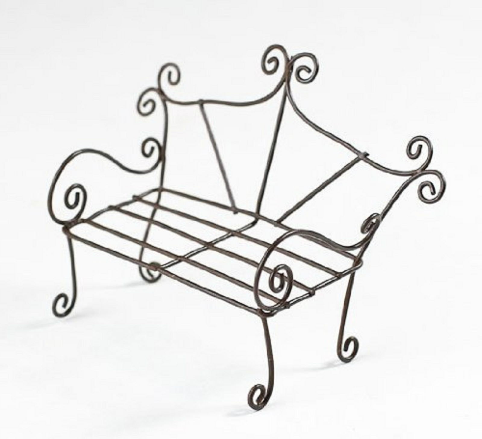 Miniature Rustic Whimsical Wire GARDEN BENCH 2.5\