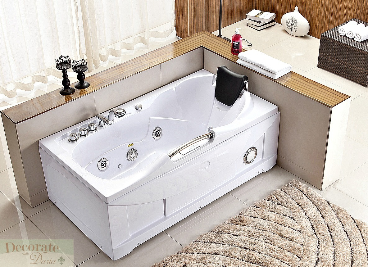 60 Quot White Bathtub Whirlpool Jetted Hydrotherapy 19 Massage