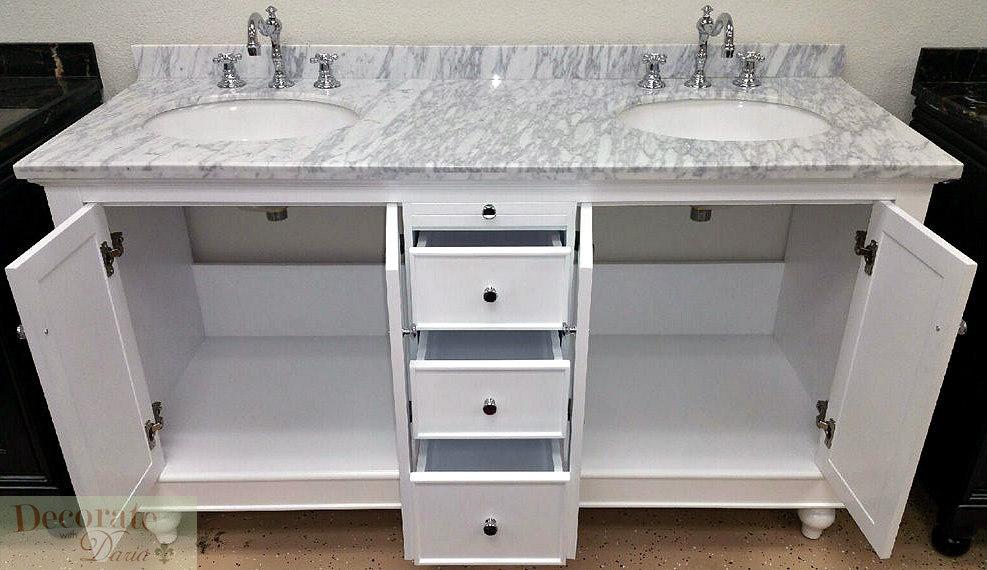 60 Quot White Vanity Bathroom Double Sinks Carrera Marble Top