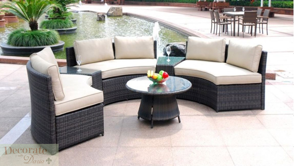 6 seat curved outdoor patio furniture set 9 ft pe wicker for Curved lounge
