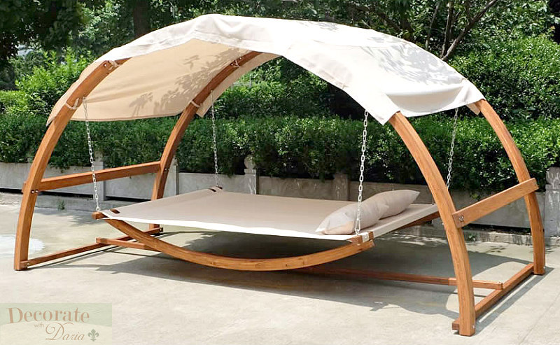 Swing Hammock Bed Amp Canopy Roof 2 Person Dual Wood Arches