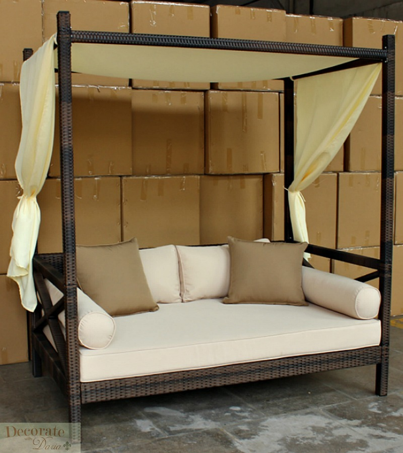 Outdoor Bali Style Sun Day Bed Lounger Sofa W Canopy Patio