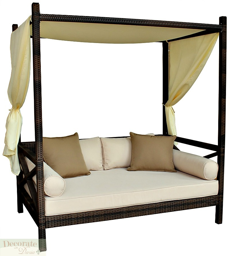 OUTDOOR BALI STYLE SUN DAY BED Lounger Sofa w/Canopy Patio ...