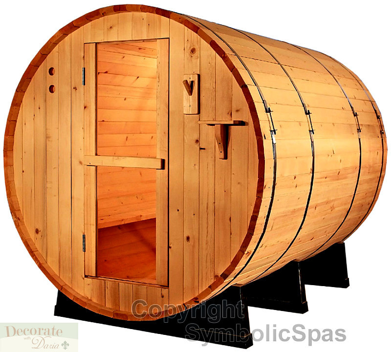 4 Person Outdoor 6 Barrel Steam Sauna 6kw Wet Dry Heat