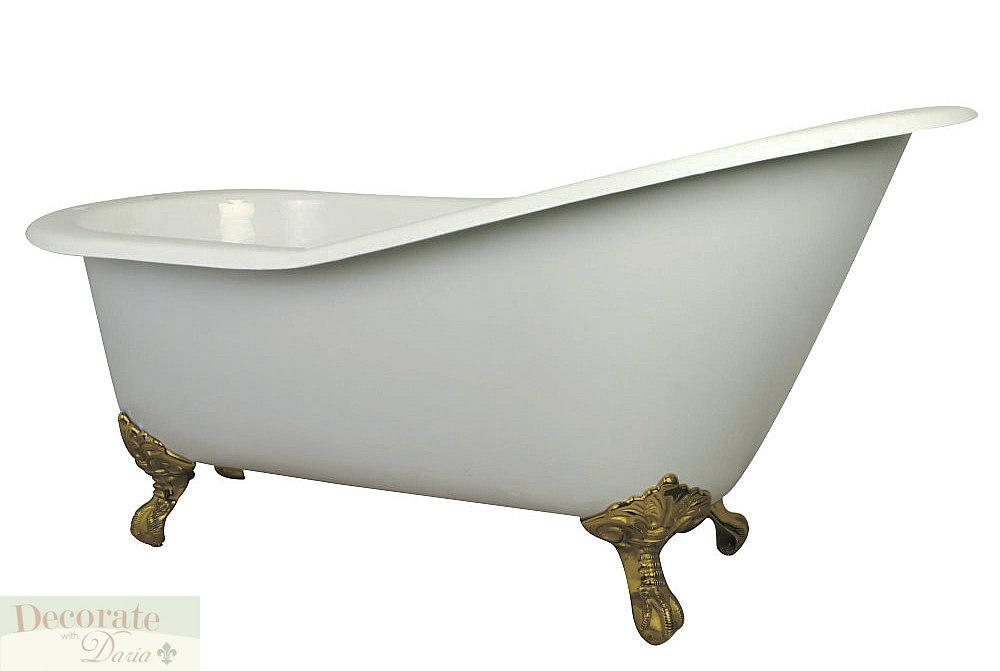 60 slipper bathtub clawfoot cast iron brass feet white for Porcelain clawfoot bathtub