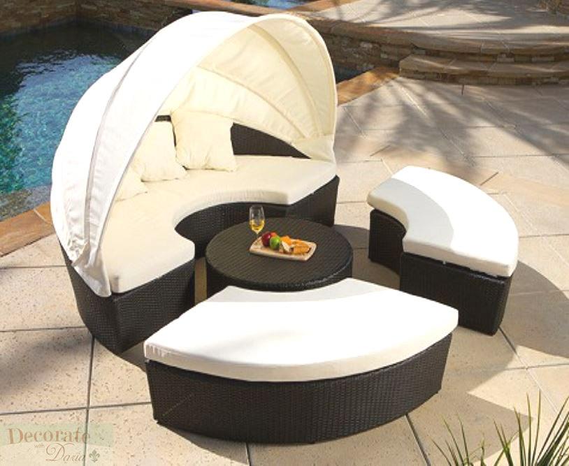 OUTDOOR CANOPY SUN BED LOUNGER PE 4pc Wicker Rattan Patio