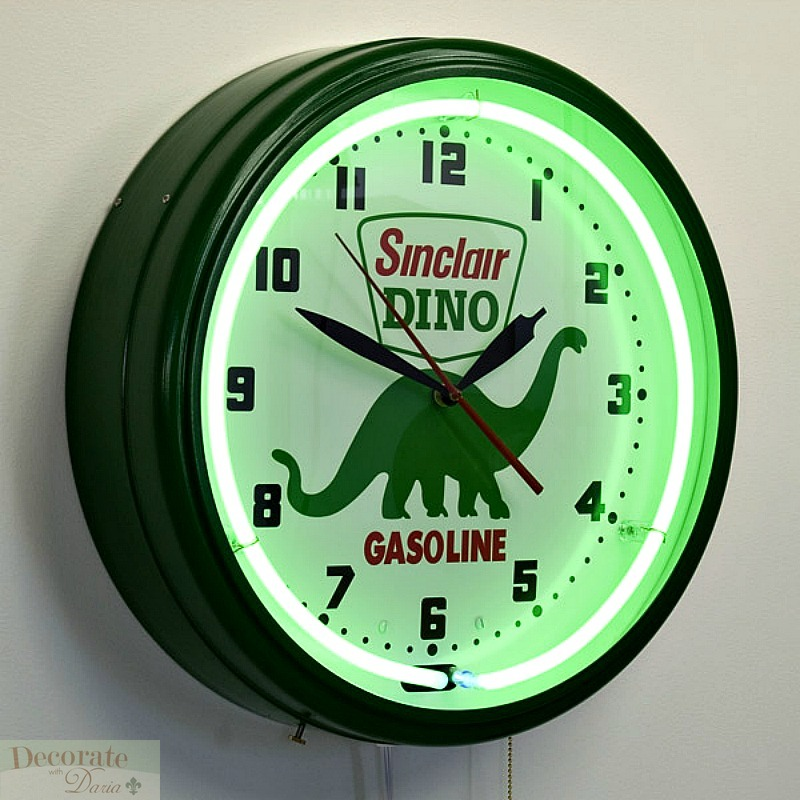 Dino Sinclair Gasoline Neon Aluminum 20 Quot Wall Clock Made