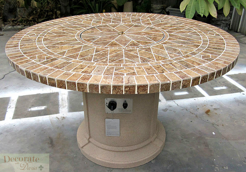 GAS FIREPLACE FIRE PIT OUTDOOR PORCELAIN MOSAIC TI
