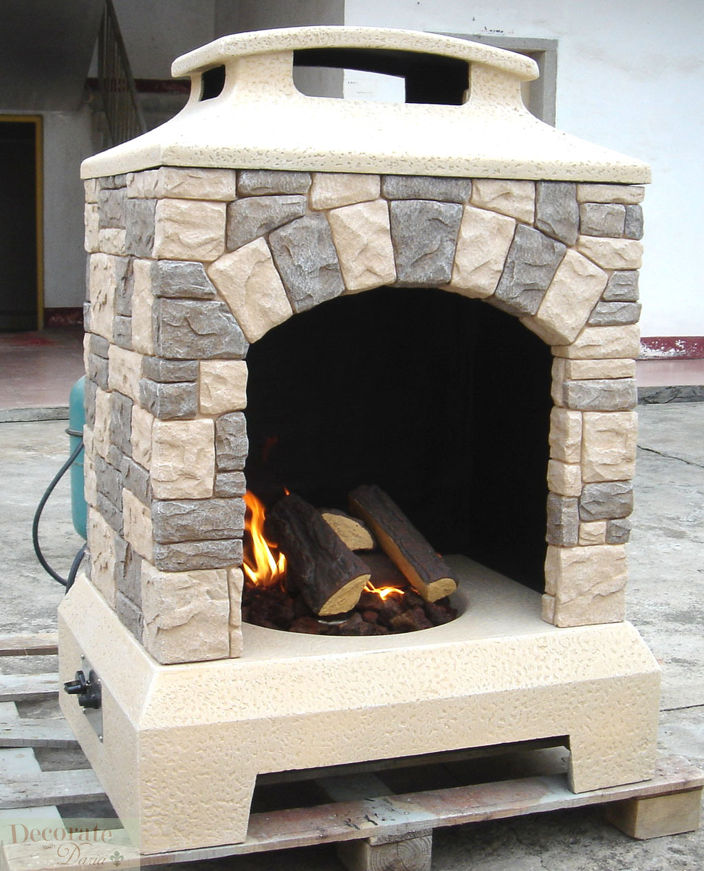 GAS FIREPLACE FIRE PIT OUTDOOR TUSCAN STYLE STONE w/Logs ... on Outdoor Gas Fireplace For Deck id=53427
