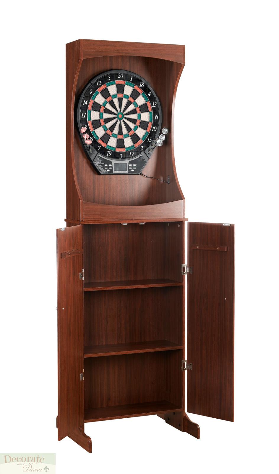 Dartboard Electronic Freestanding Cabinet Set Dart Game