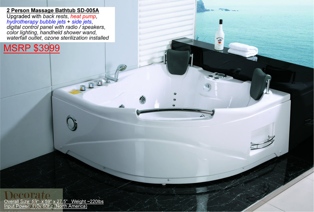 2 Person Bathtub Corner Black Whirlpool Jetted Therapy Tub