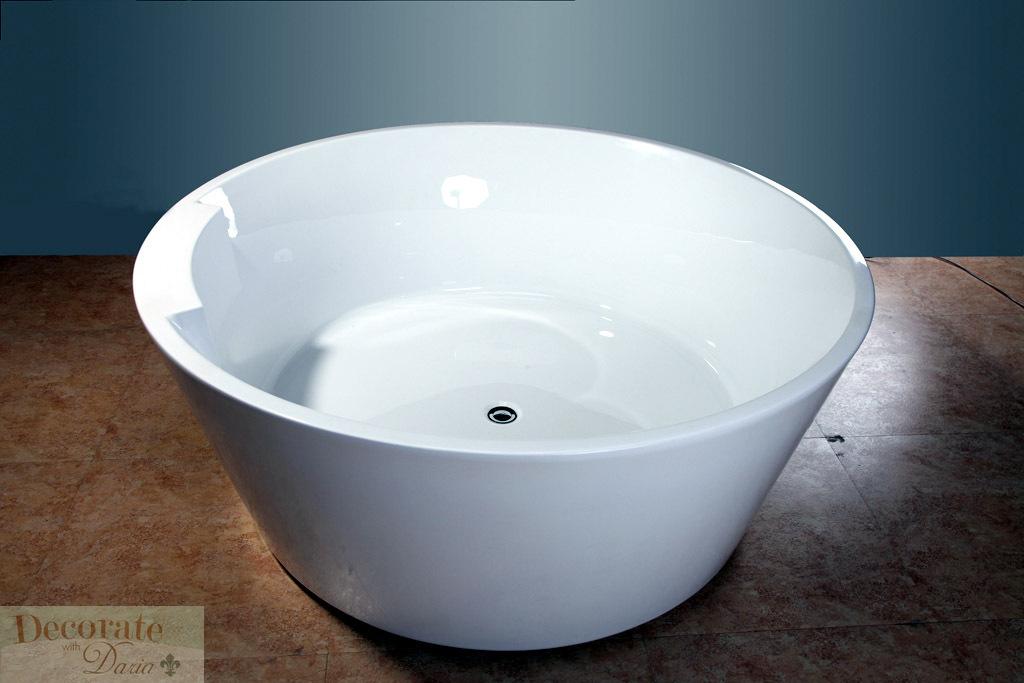 BATHTUB SOAKING 5 Ft ROUND JAPANESE STYLE W FLOOR FAUCET Drain White Acrylic