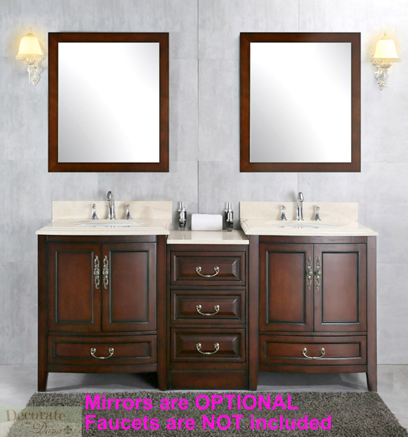 72 Quot Brown Vanity Bathroom Cream Marble Top Ceramic Double