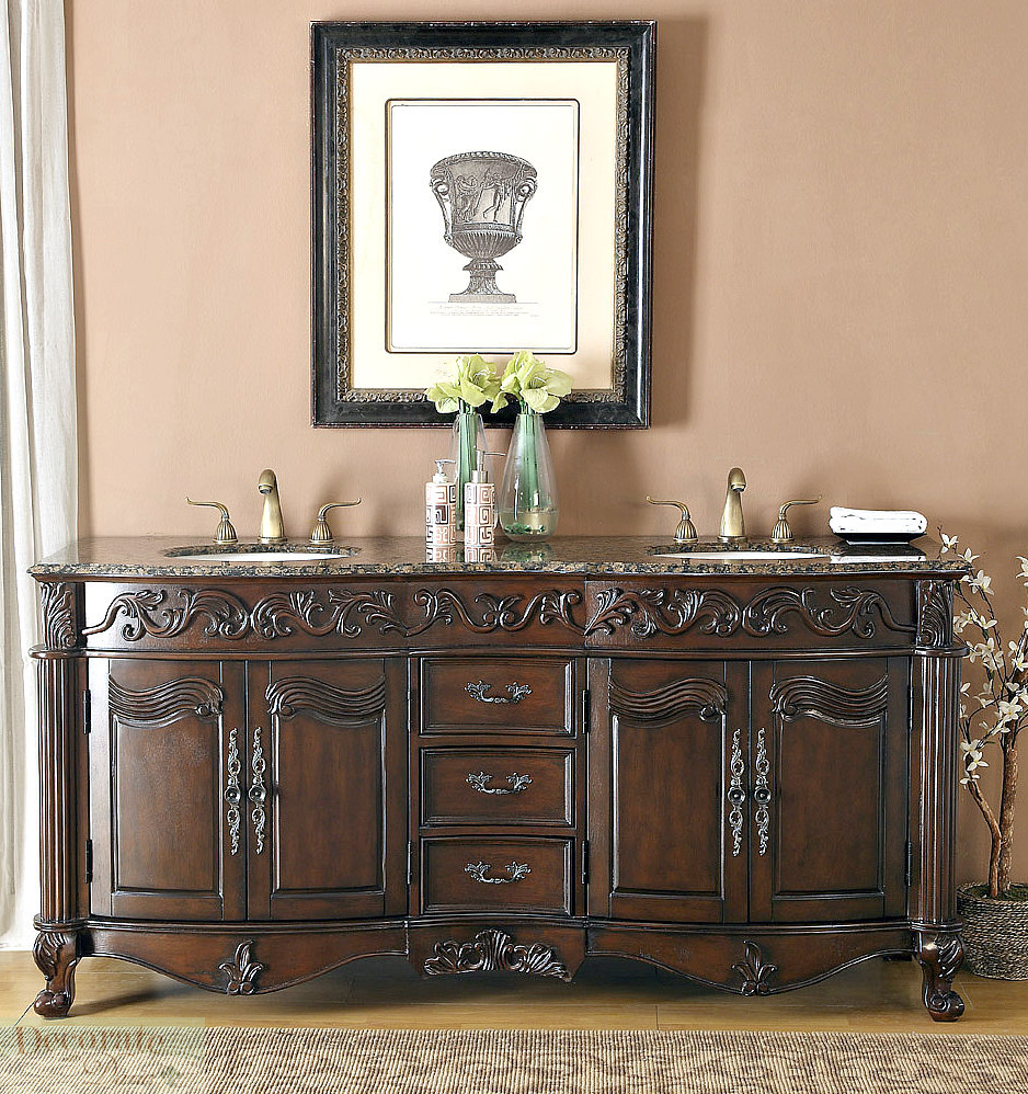 71 Brown Vanity Bathroom Granite Top White Ceramic Double Sinks 3 Drawers New Decorate With Daria