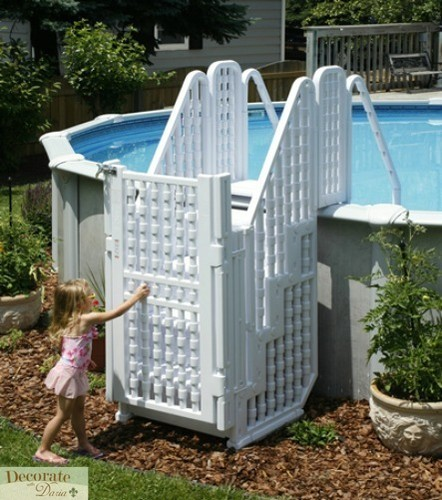 Pool Step Entry Exit Above Ground Child Safe Lock Gate 48