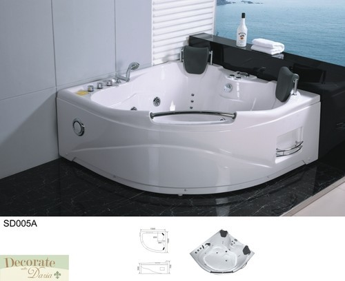 2 Person Bathtub Corner Whirlpool Jetted Therapy Tub Spa