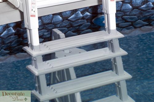 Above ground pool ladder deck mount 5 treads resin liner for Above ground pool decks and ladders