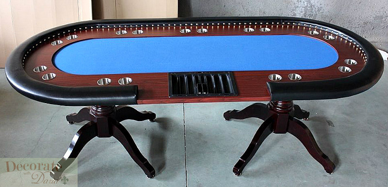 Poker table 94 solid wood 10 player texas holdem card for 10 player poker table top