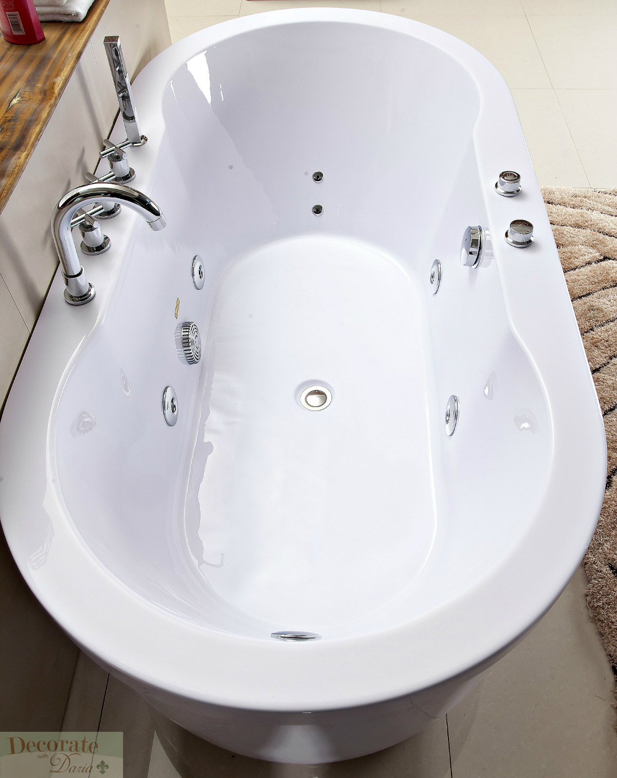 Bathtub Freestanding Whirlpool Jetted Hydrotherapy Massage