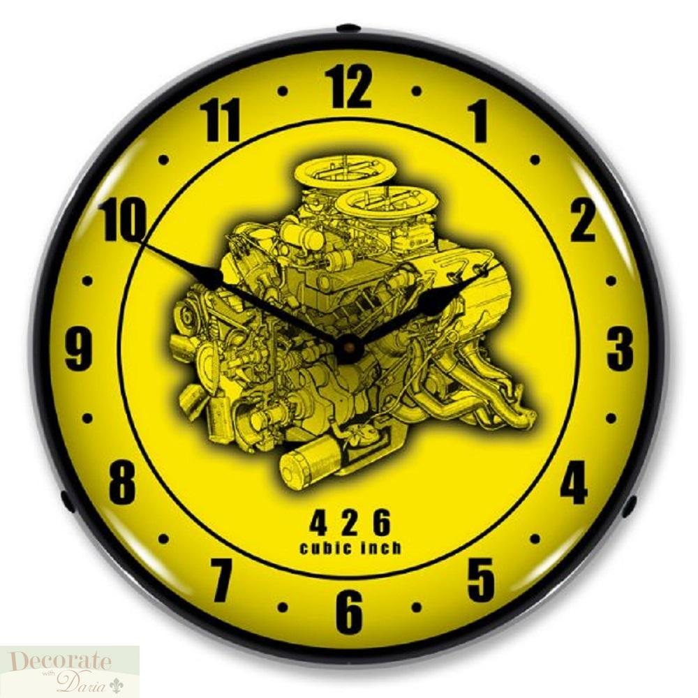 426 CU IN HEMI ENGINE CHRYSLER V8 Cutaway WALL CLOCK 14