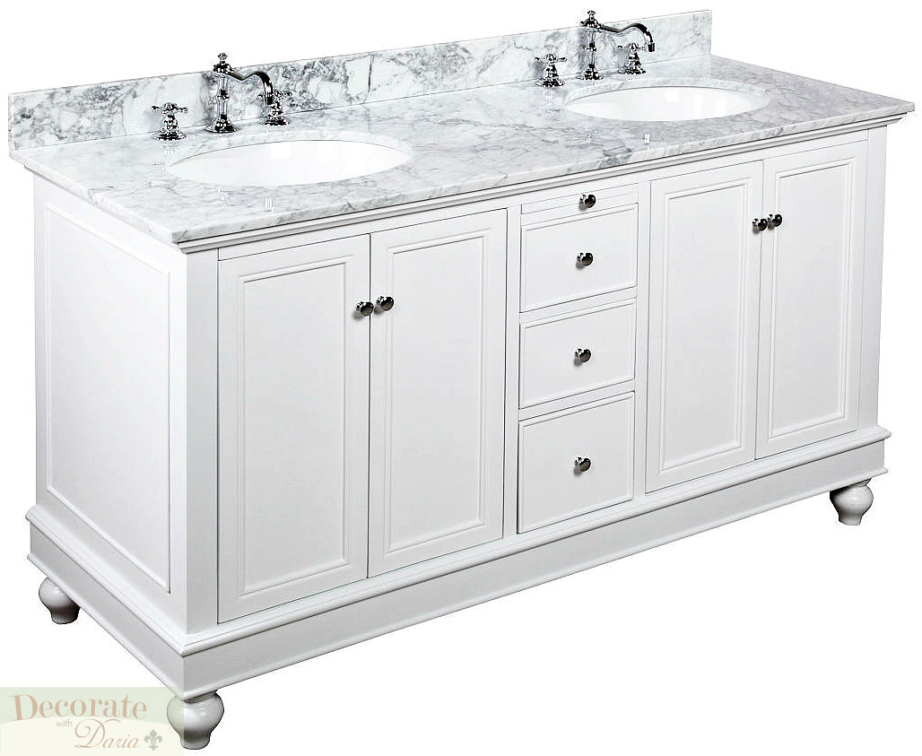60 white vanity bathroom double sinks carrera marble top w faucets drains new decorate with