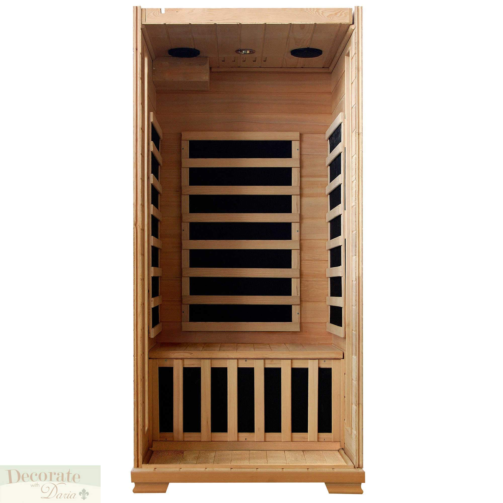 1 person sauna fir far infrared hemlock 4 carbon heaters 120v 15amp mp3 aux new decorate with daria. Black Bedroom Furniture Sets. Home Design Ideas