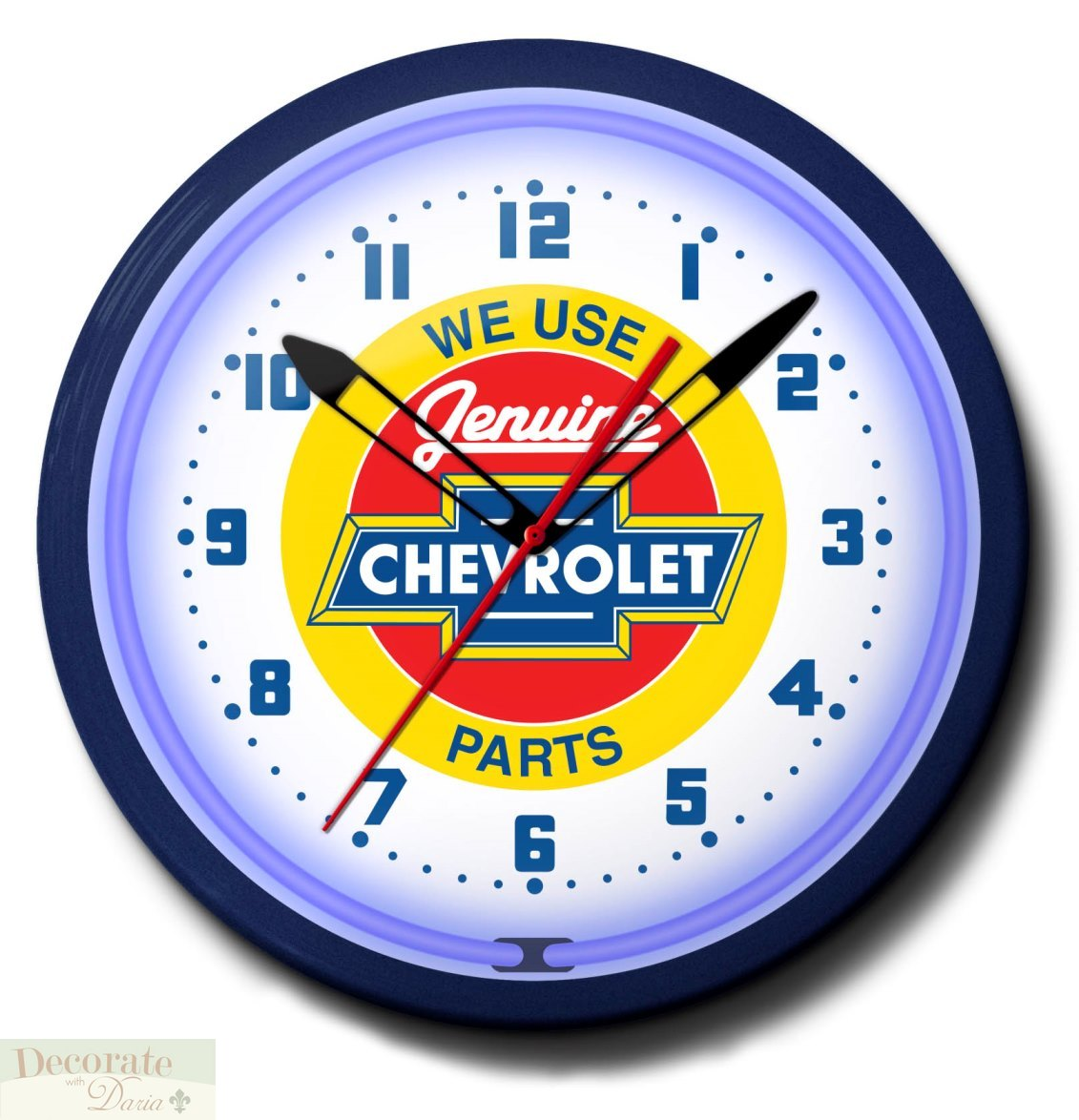 Chevrolet Genuine Parts Chevy Neon 20 Quot Wall Clock Made In The Usa