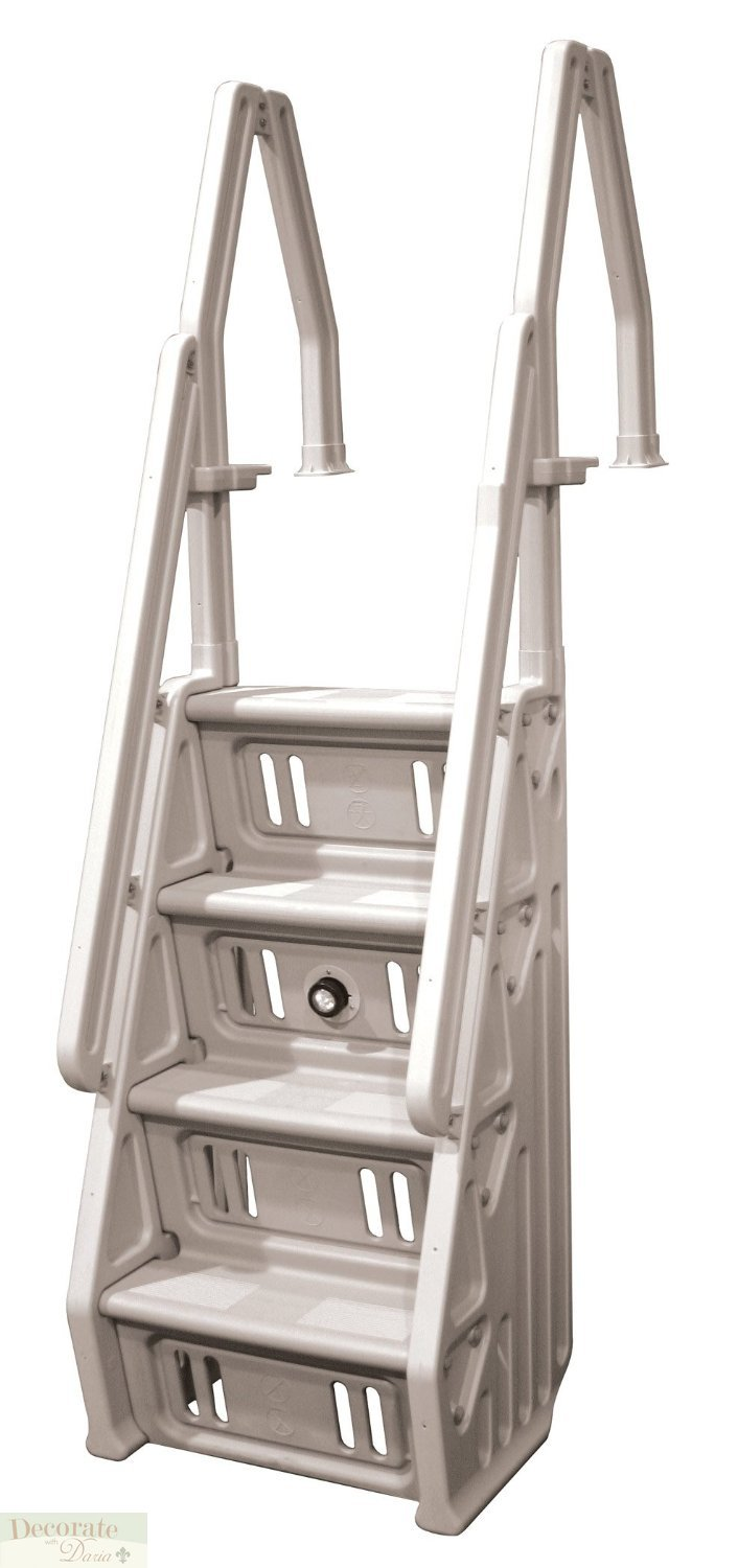 Pool Ladder Above Ground Deck Mount Taupe 4 Tread Non Skid