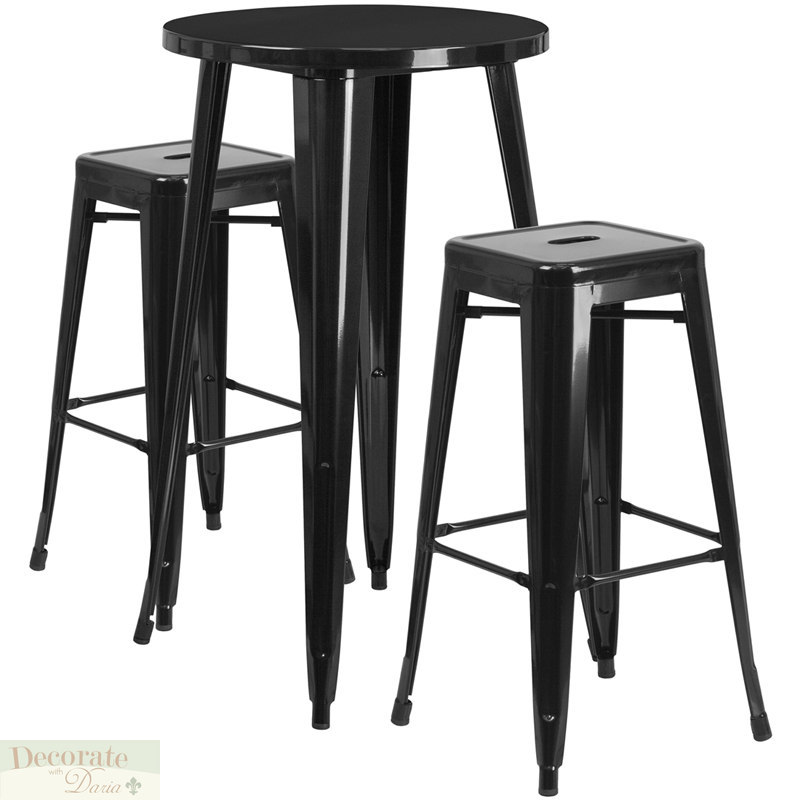Cool Bar Table Round 2 Barstools Backless Black Metal Indoor Theyellowbook Wood Chair Design Ideas Theyellowbookinfo