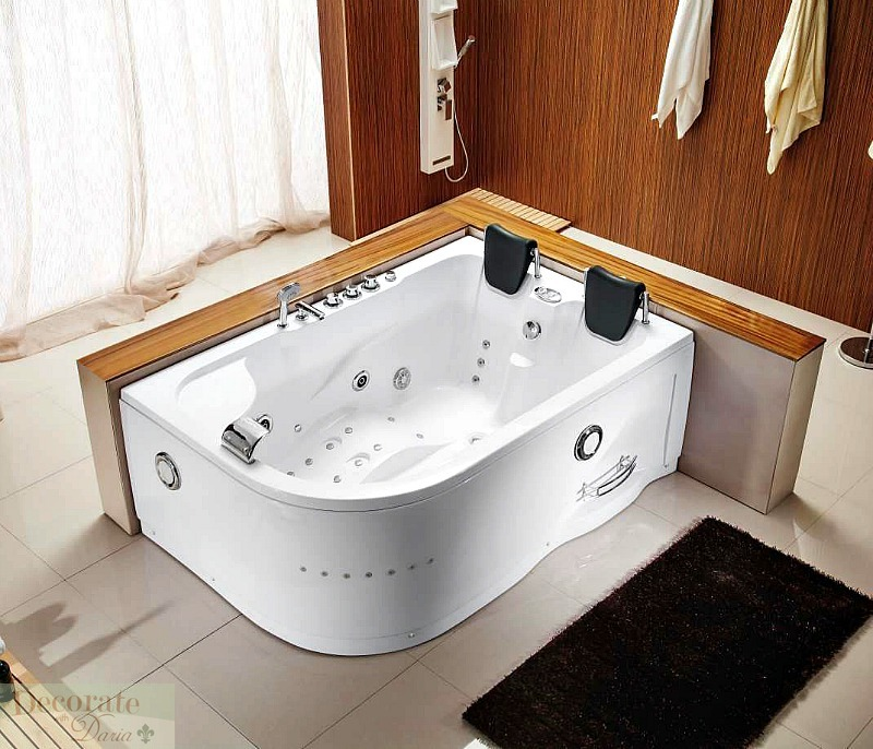 2 person 71 l bathtub white whirlpool tub spa hydrotherapy massage 25 jets new decorate with daria. Black Bedroom Furniture Sets. Home Design Ideas