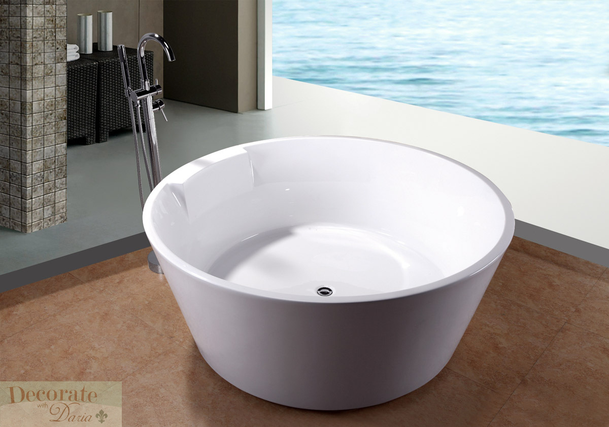 bathtub soaking 5 ft round japanese style w floor faucet drain white