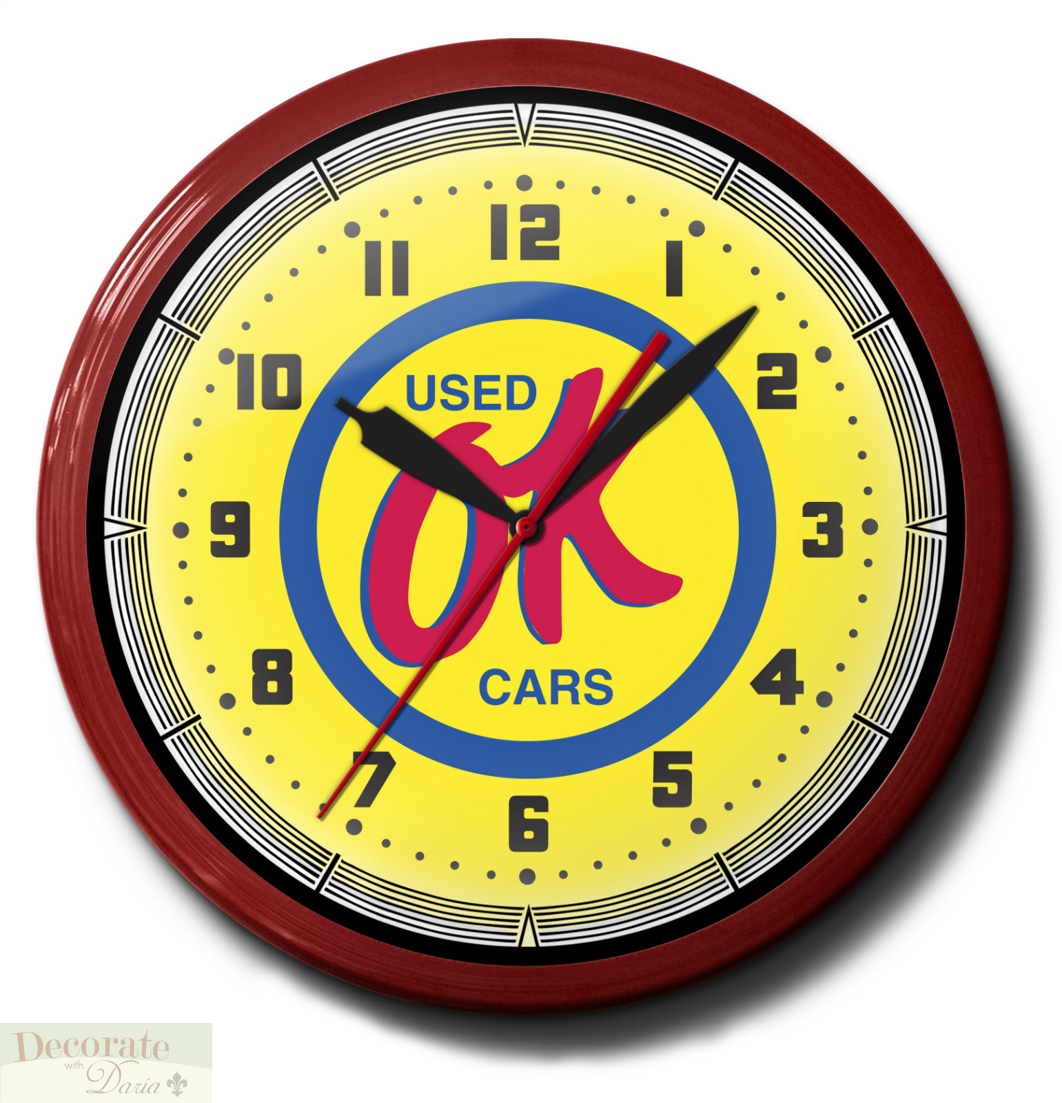 OK USED CARS Neon Wall Clock 20 Inch Made In The USA