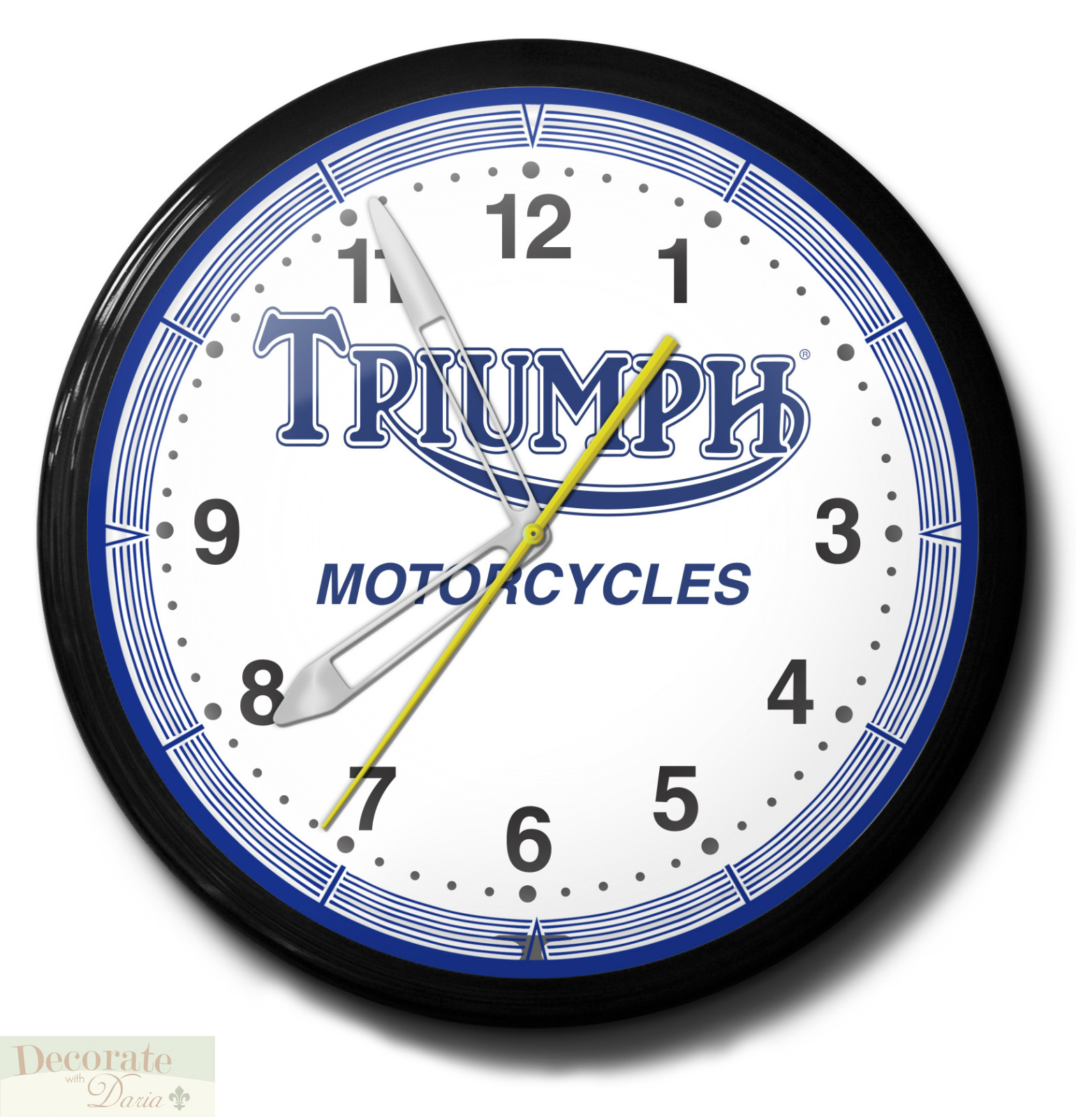 Black Canopy Beds Triumph Motorcycles Neon Black Aluminum 20 Quot Wall Clock