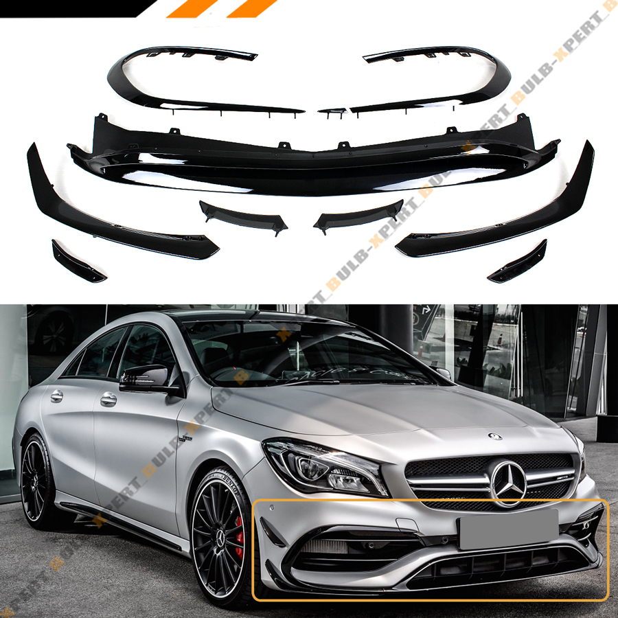 FOR 2017-18 BENZ CLA43 CLA250 AMG W117 GLOSS BLK 9PC FRONT BUMPER LIP+CANARD KIT