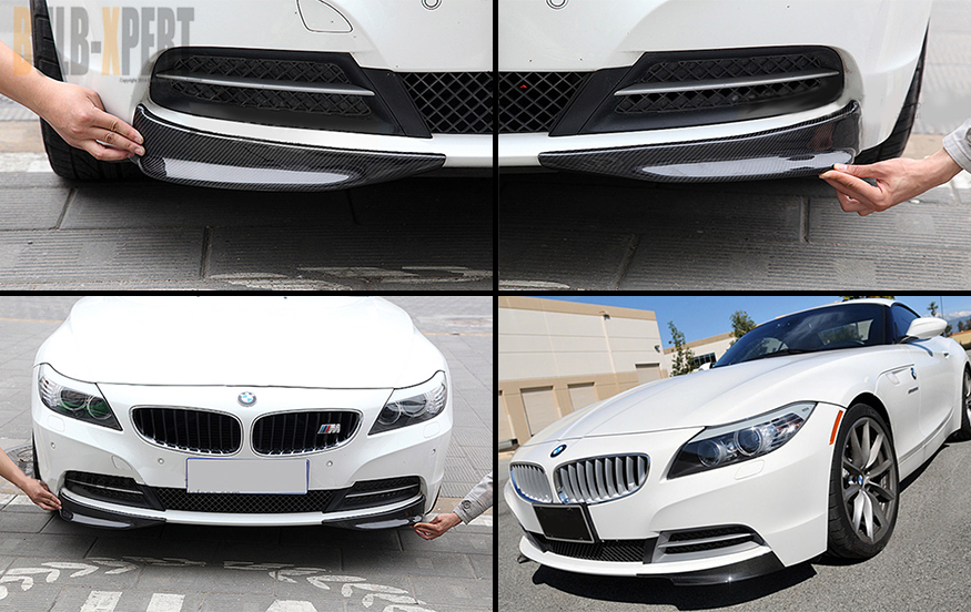 Real Carbon Fiber Front Bumper Left Right Splitters For