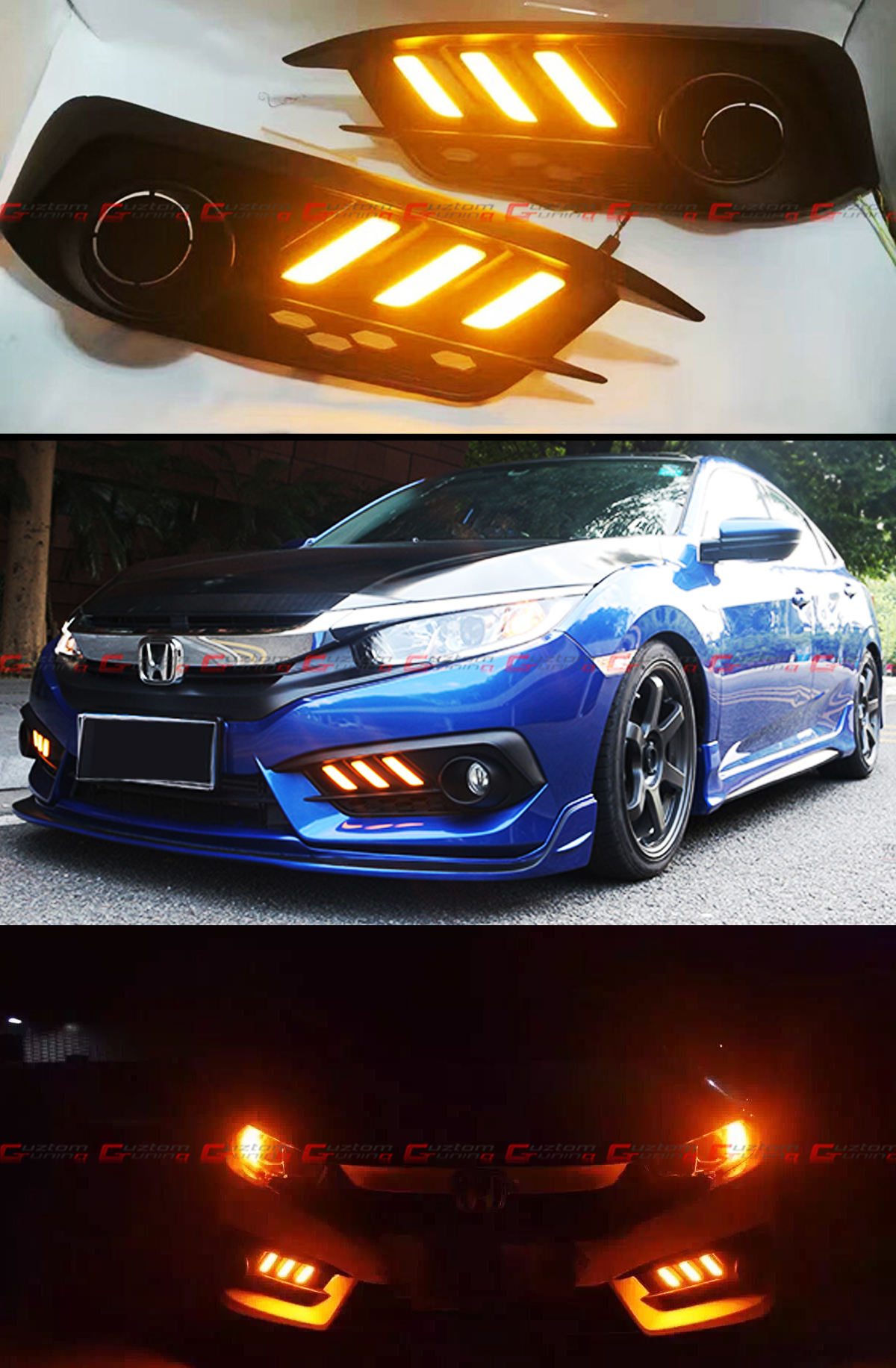 For 2016 17 10th Gen Honda Civic Fog Light Bezel Cover W