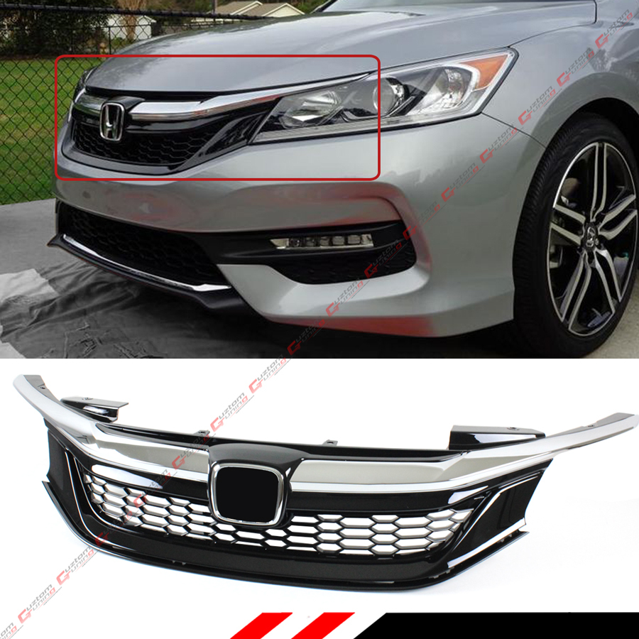 For 2016-17 9th Gen Honda Accord Sedan Chrome Black JDM