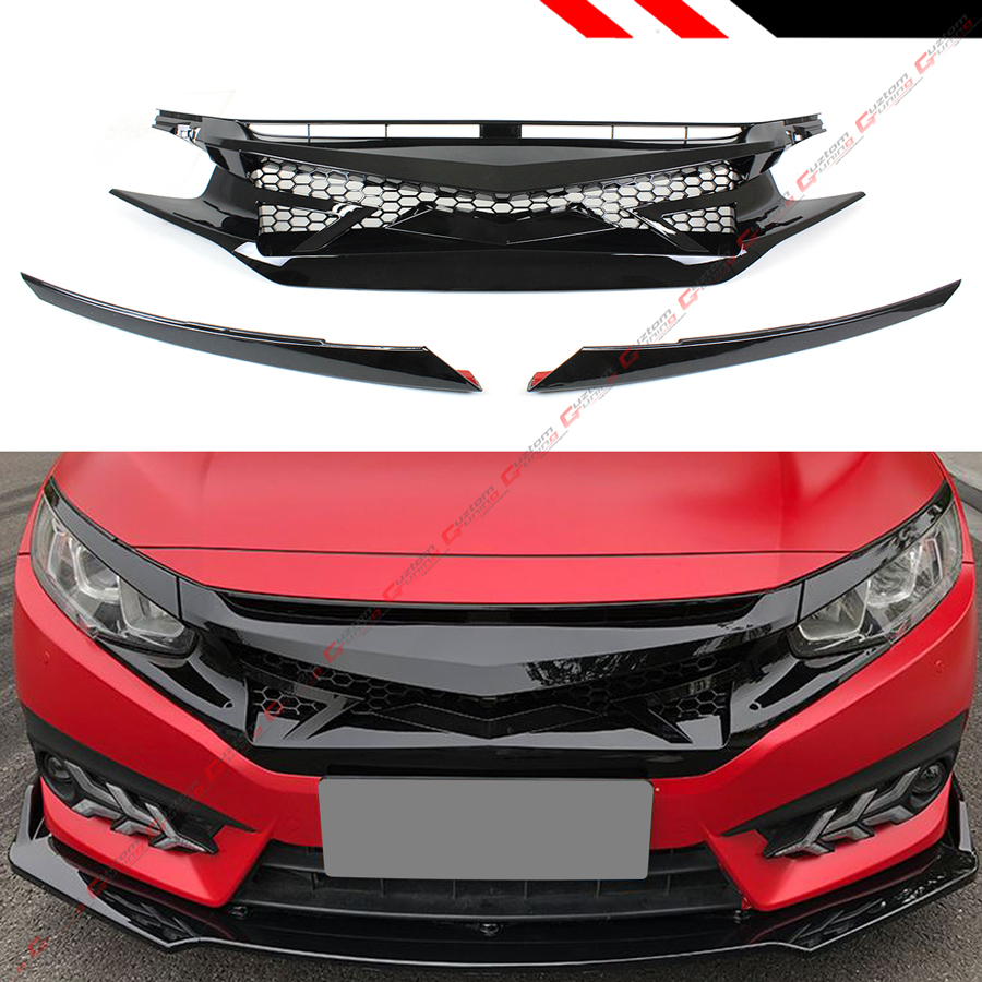Honda Civic 10Th Gen >> Details About For 2016 2019 Honda Civic 10th Gen Gloss Blk Jdm Battle Style Front Hood Grille