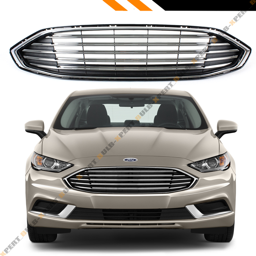 For 2017-2018 Ford Fusion OE Style Front Bumper Black Chrome Accent Upper  Grille