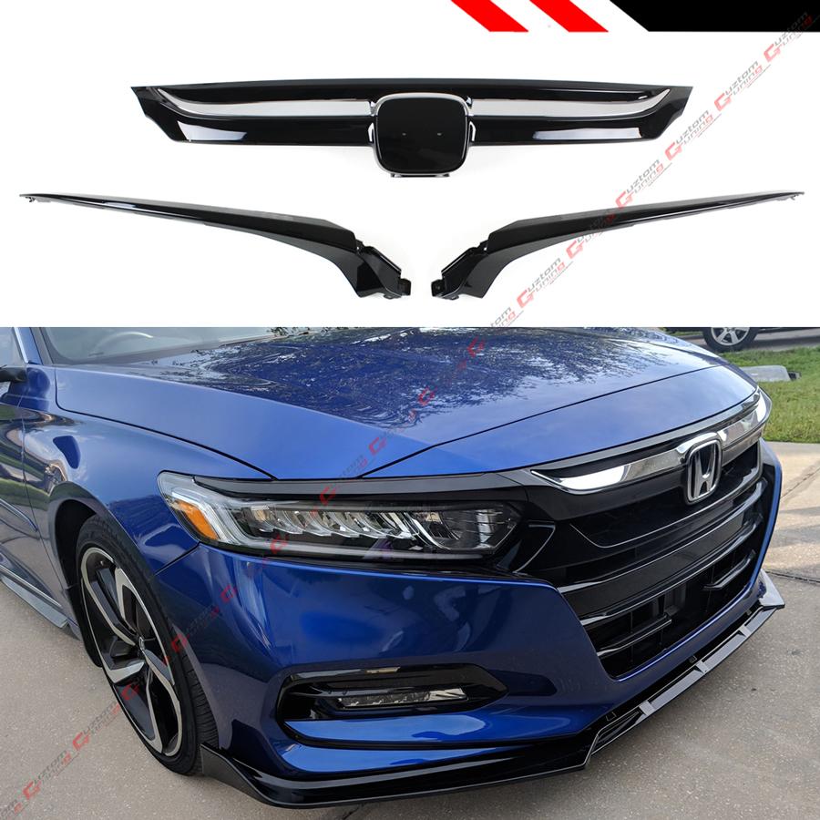 For 18-2020 10th Honda Accord Glossy Black Chrome Trim