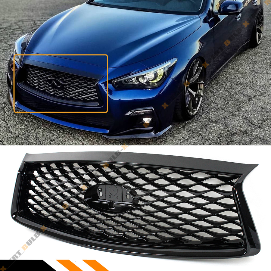 Infiniti Q50 Front Mesh Honeycomb Grille Replacement Glossy Black For 2018-2019