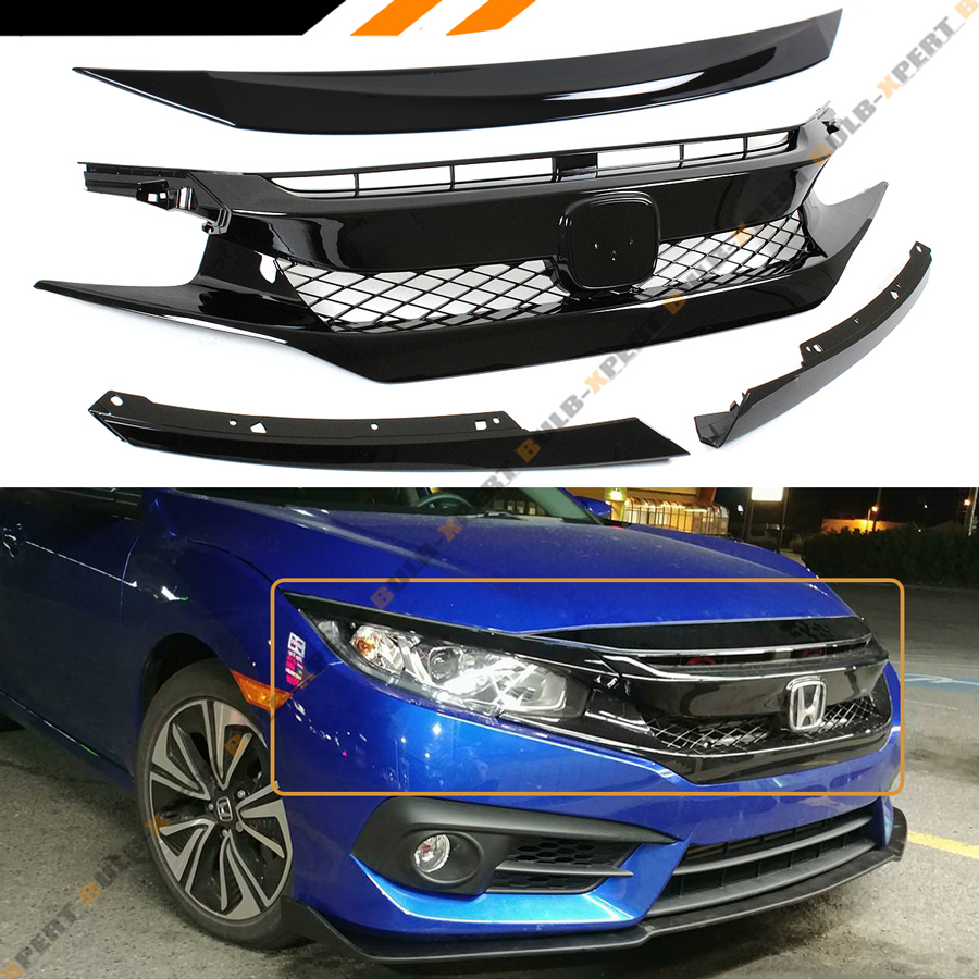 Gloss Black ABS Mesh Front Hood Grille Cover For 16-18 Honda Civic