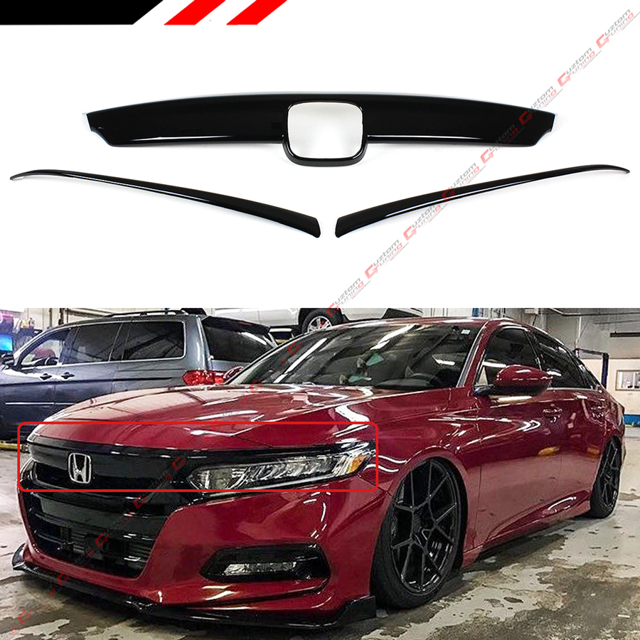 FOR 2018-2020 HONDA ACCORD GLOSSY BLACK FRONT GRILL