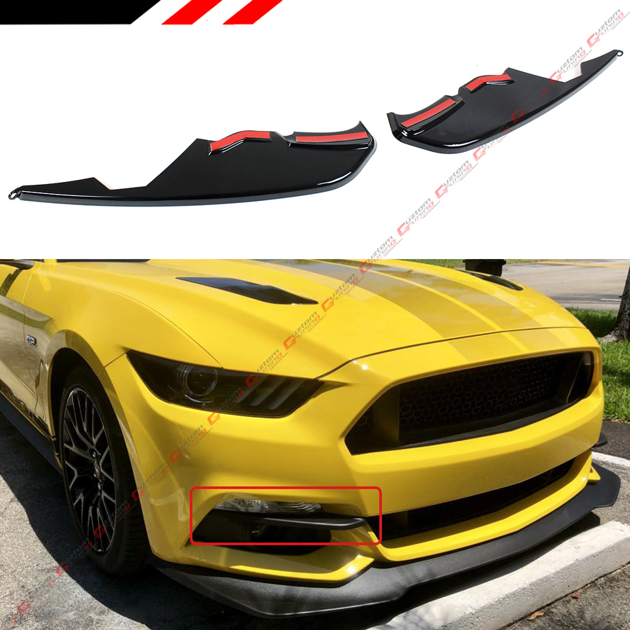 For 2015-2017 Ford Mustang ABS Shiny Auto Front Bumper Fog Light Lamp Cover Trim