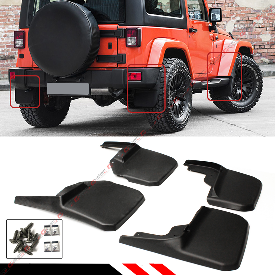 for 2007 18 jeep wrangler jk mud flaps guards splash. Black Bedroom Furniture Sets. Home Design Ideas