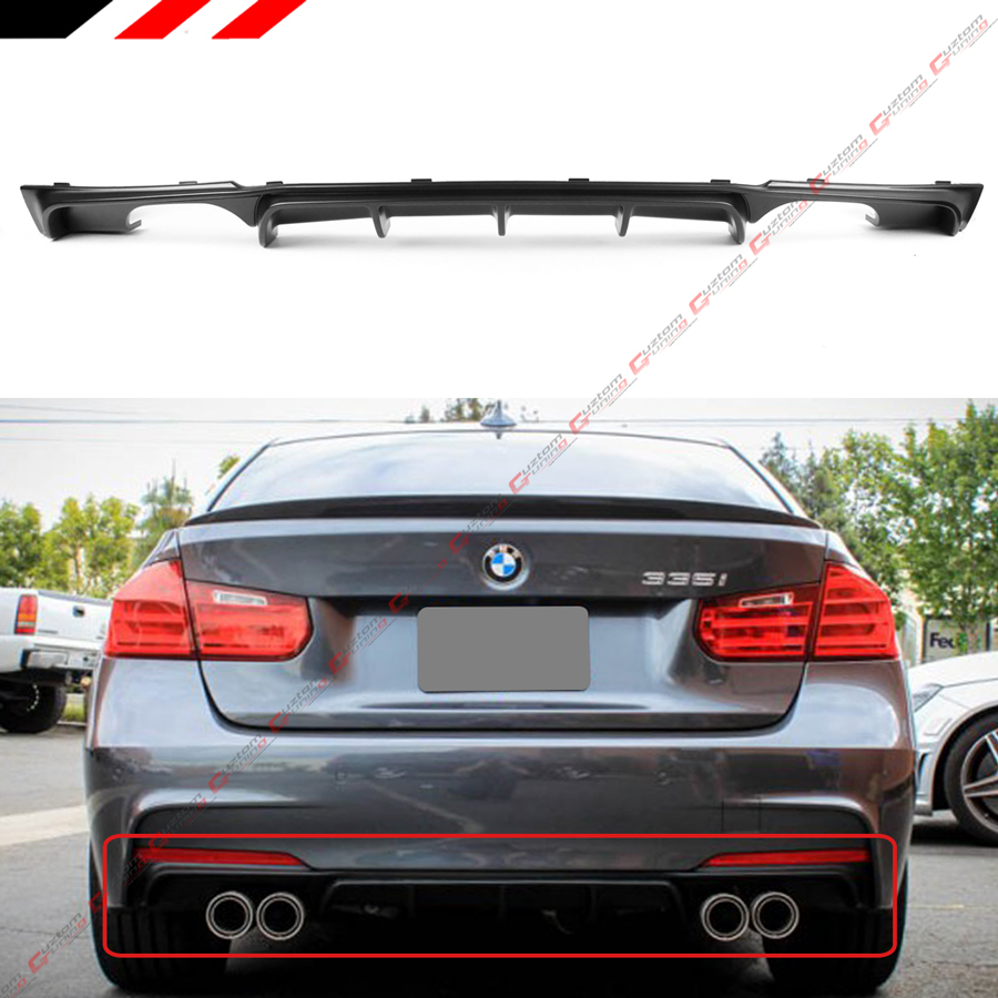 Details about FOR 2012-18 BMW F30 F31 M SPORT MP STYLE QUAD EXHAUST TIP  REAR BUMPER DIFFUSER