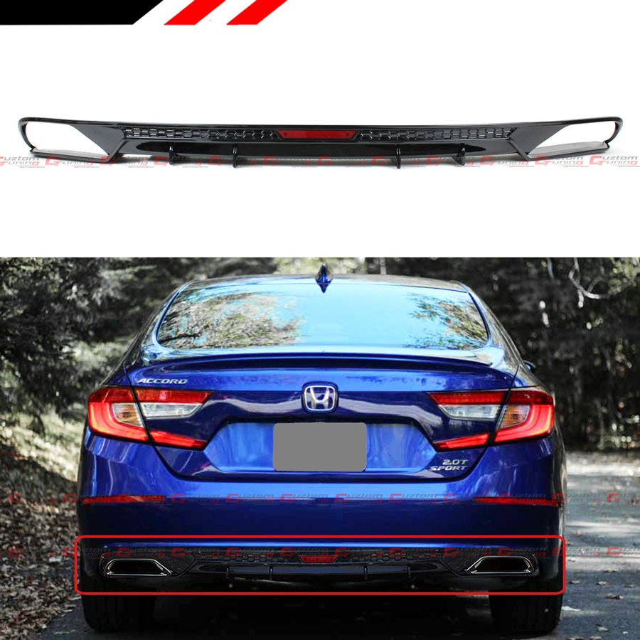 FOR 2018-2019 HONDA ACCORD SPORT TOURING GLOSSY BLK REAR