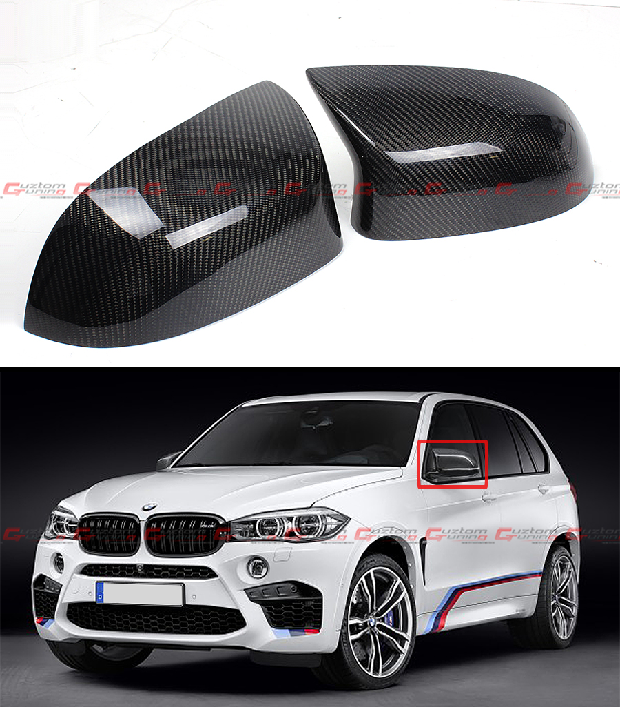 for 2015 17 bmw f85 x5m f86 x6m carbon fiber side mirror cover caps overlay pair ebay. Black Bedroom Furniture Sets. Home Design Ideas