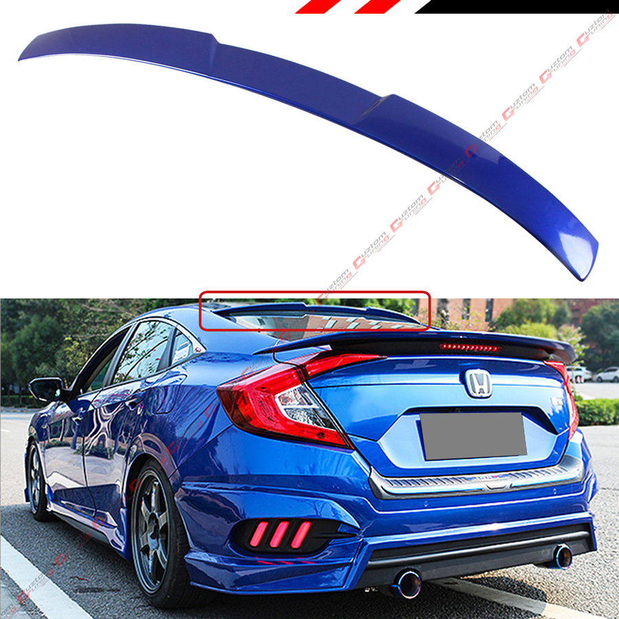 10th Gen Civic >> Details About For 2016 2018 10th Gen Honda Civic X Sedan Glossy Blue Rear Window Roof Spoiler