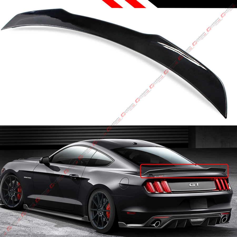 For 2015-19 S550 Ford Mustang GT350 Style Painted Black Rear Trunk Spoiler Wing